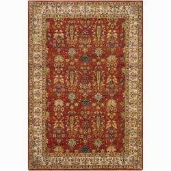 Hand-knotted Mandara Orange Oriental New Zealand Wool Rug (5' x 7'6)
