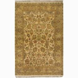 Hand-knotted Mandara Oriental Gold New Zealand Wool Rug (4' x 6')