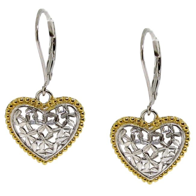 Silver and Gold Two-Tone Flower Heart Earrings