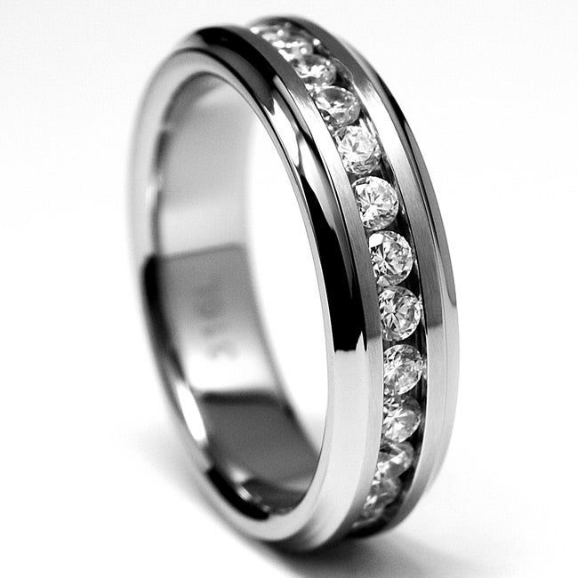 Oliveti Stainless Steel Channel-set Clear Cubic Zirconia Eternity Ring