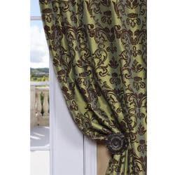 Flocked Firenze Fern Green Faux Silk 84-inch Curtain Panel