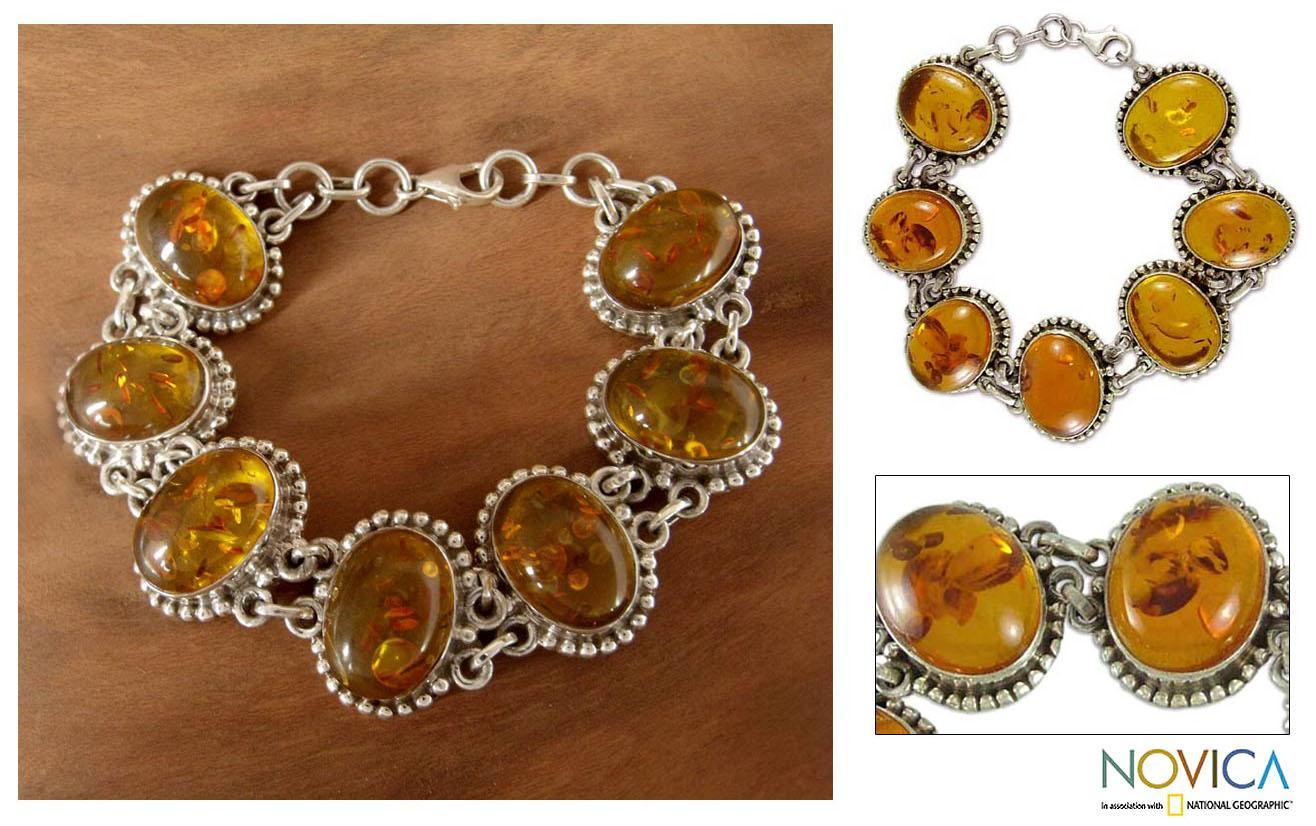 Handcrafted Sterling Silver 'Honey Love' Amber Link Bracelet (India)