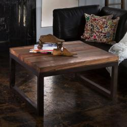 Reclaimed Wood and Weathered Iron Coffee Table (India)