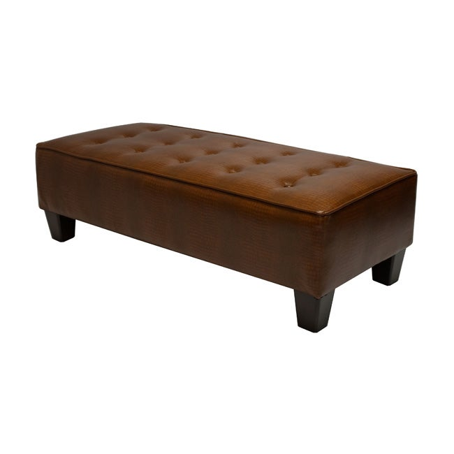 Bryan Caramel Crocodile Tufted Bench