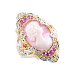 Michael Valitutti Two-tone Shell Cameo and Pink Sapphire Ring