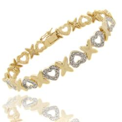 14k Gold Overlay Diamond Accent 'X' and Heart Bracelet