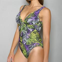 Island World Apparel One-piece Peacock Feathers Print Swimsuit