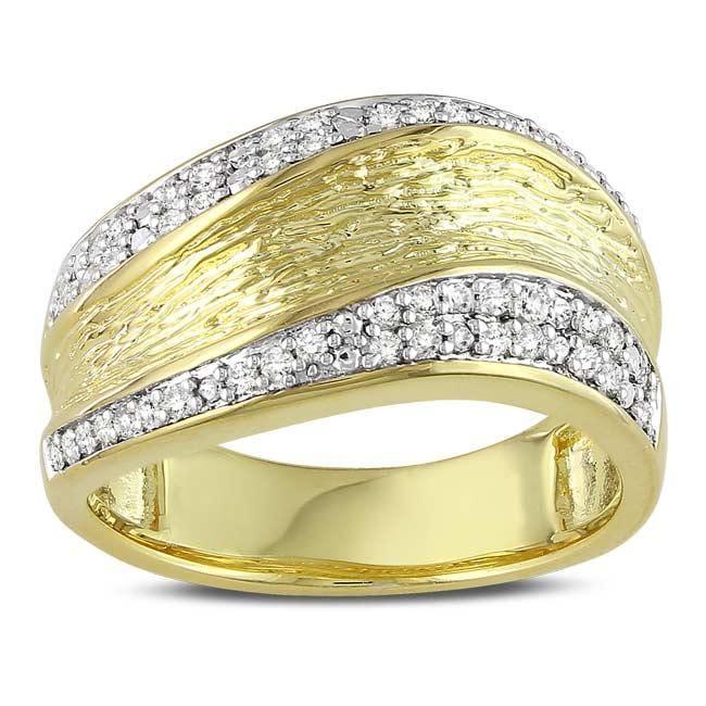 Miadora Yellow-plated Silver 1/4ct TDW Diamond Ring (G-H, I3)