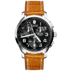 Victorinox Swiss Army Men's 'Alliance' Chrono Black Dial Leather Strap