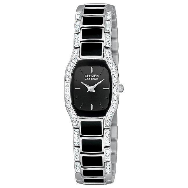 Citizen Women's Eco-Drive 'Normandie' Black Dial Crystal Watch