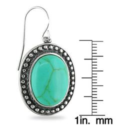 Sterling Silver Oval-cut Turquoise Earrings