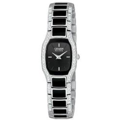Citizen Women's Eco-Drive 'Normandie' Black Dial Crystal Watch