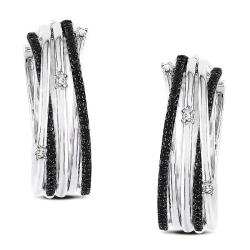 Miadora Sterling Silver 3/5ct TDW Black and White Diamond Earrings (G-H, I3)