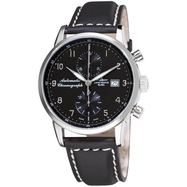 Zeno Men's 'Magellano' Black Strap Automatic Chronograph Watch