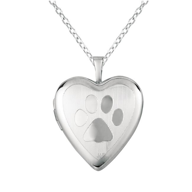 Sterling Silver Paw Print Heart-shaped Locket Necklace
