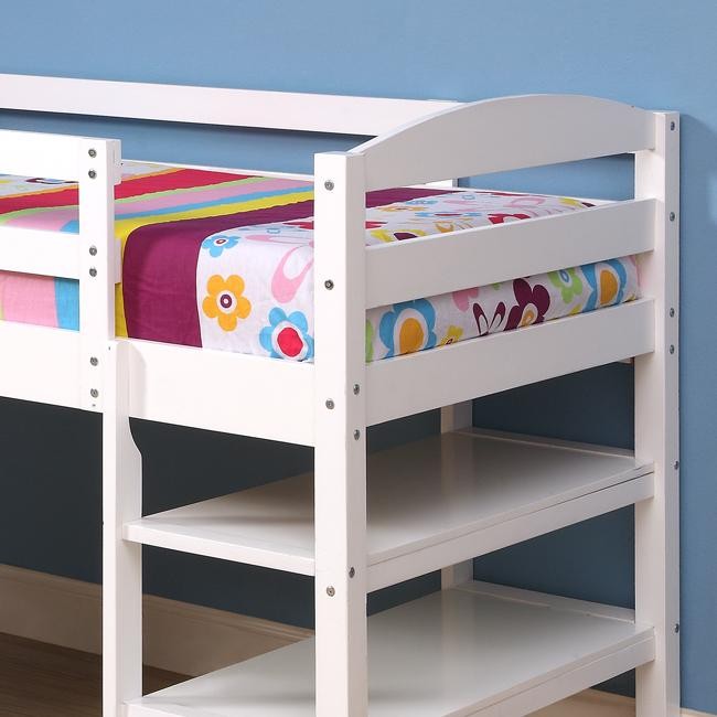 Solid Wood White Twin-size Loft Bed with Desk