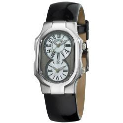 Philip Stein Women's 'Signature' Shiny Black Strap Dual Time Watch