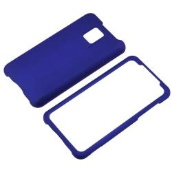 Dark Blue Rubber Coated Case/ Screen Protector for LG G2X
