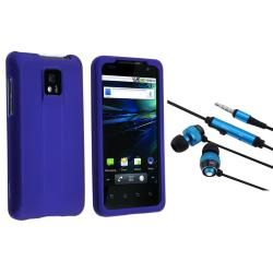 BasAcc Blue Rubber Coated Case/ Headset for LG G2X