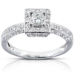 14k White Gold 1/2ct TDW Diamond Halo Engagement Ring (H-I, I1-I2)