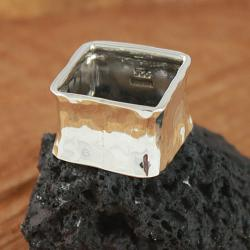 Sterling Silver Hammered Square Ring (Mexico)