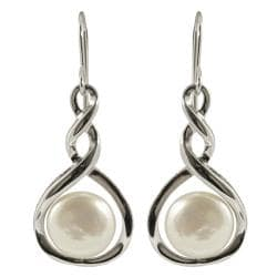 Pearls For You Silver White Freshwater Coin Pearl Earrings (10.5-11 mm)