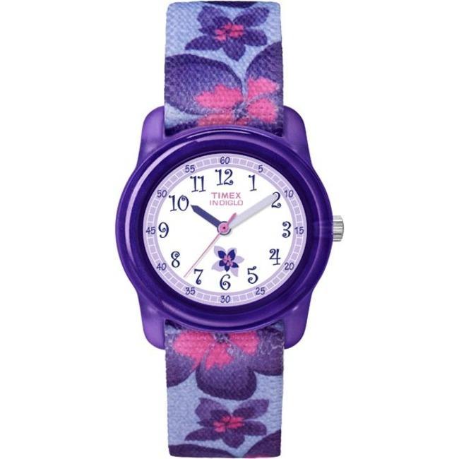Timex T7B8879J Kids' Analog Flowers Elastic Fabric Strap Watch