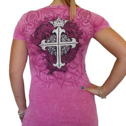 Vocal Womens Pink Short Sleeve Rhinestone Cross Top