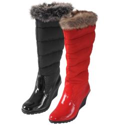 Journee Collection Women's 'NALA-43' Faux Fur Trim Wedge Boots