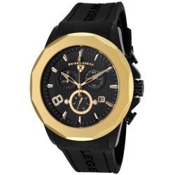 Swiss Legend Men's SL-10042-BB-01-GB Monte Carlo Black Dial Black Silicone Chrono Watch
