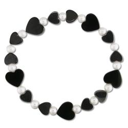 Miadora White Freshwater Pearl, Onyx and Hematite Heart Stretch Bracelet