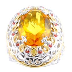 Michael Valitutti Two-tone Yellow Amber and Orange Sapphire Ring