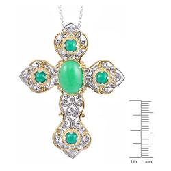Michael Valitutti Two-tone Green Jade and White Sapphire Cross Necklace