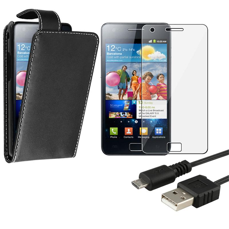 Leather Case/ Screen Protector/ Cable Samsung Galaxy S II