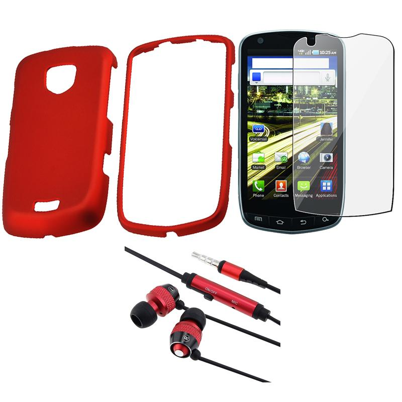 BasAcc Red Case/ Headset/ Screen Protector for Samsung Droid Charge