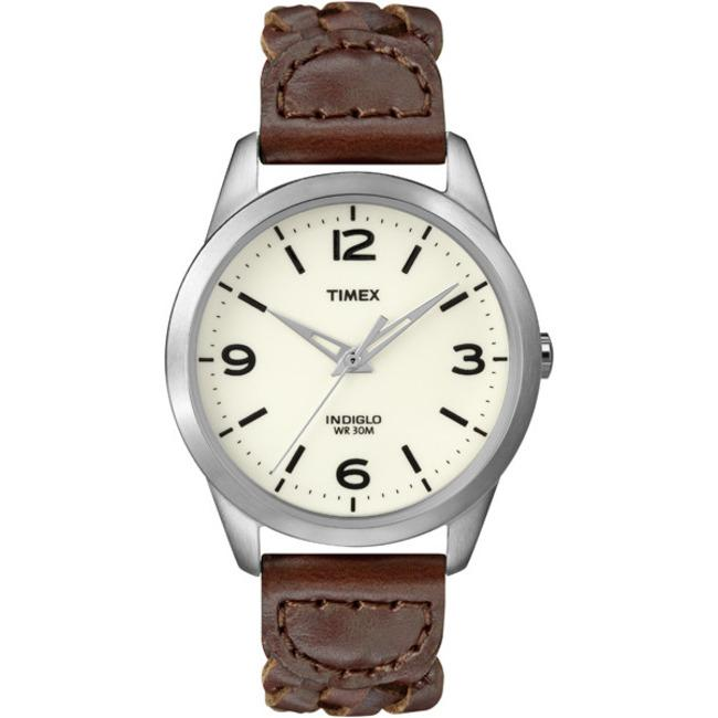 Timex T2N644KW Women's Weekender Classic Casual Woven Leather Strap Watch