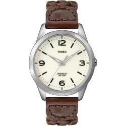 Timex Women's T2N644 Weekender Classic Casual Woven Leather Strap Watch