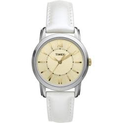 Timex Women's 'Style Chic' White Leather Strap Watch