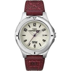 Timex Women's T49855 Expedition Field Burgundy Leather Strap Watch