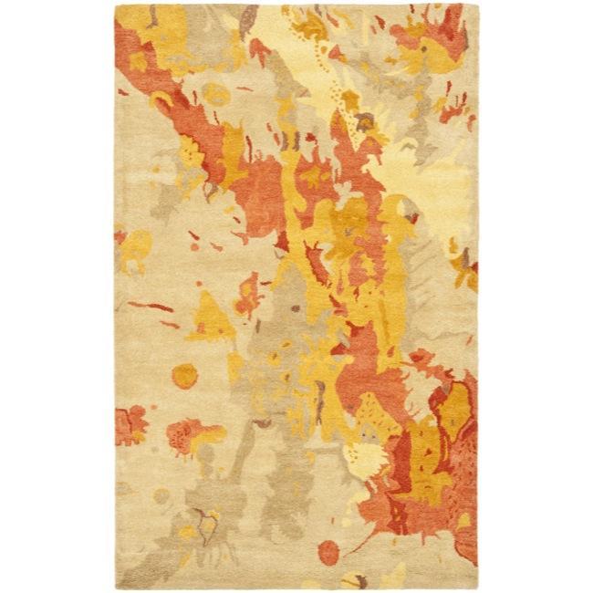 Safavieh Handmade Soho Splashes Beige New Zealand Wool Rug (7'6 x 9'6)