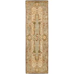 Handmade Aubusson Plaisir Ivory/ Light Blue Wool Rug (2'6 x 8')