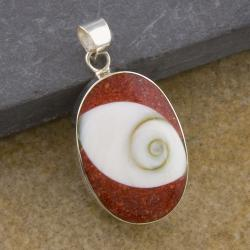 Sterling Silver Red Coral and Shiva Shell Oval Pendant (Thailand)
