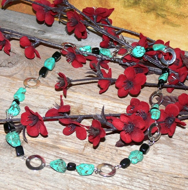 Susen Foster Silverplated Navajo Rings Turquoise and Onyx Necklace