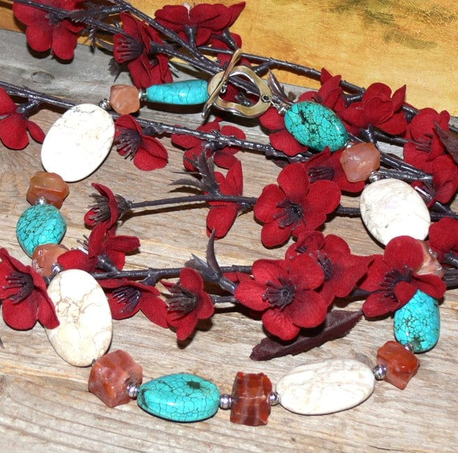 Susen Foster Silverplated Costa Azul Turquoise and Carnelian Necklace