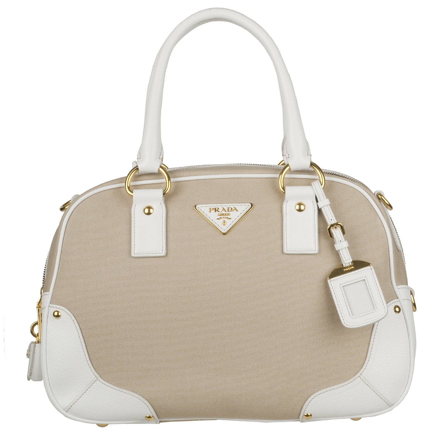 Prada Beige Canvas White Leather Trim Bowler Bag - 13767253 ...