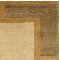 Hand-knotted Gabeh Blocks Beige Wool Rug (3' x 5')