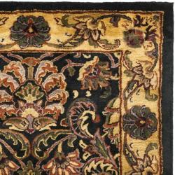 Handmade Delhi Navy/ Gold Wool Rug (3' x 5')