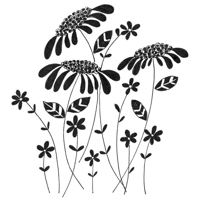 Penny Black Flower Amongst Flowers Wood mounted Rubber Stamp