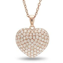 Miadora 14k Rose Gold 1ct TDW Pave Diamond Heart Necklace (G-H, SI1-SI2)