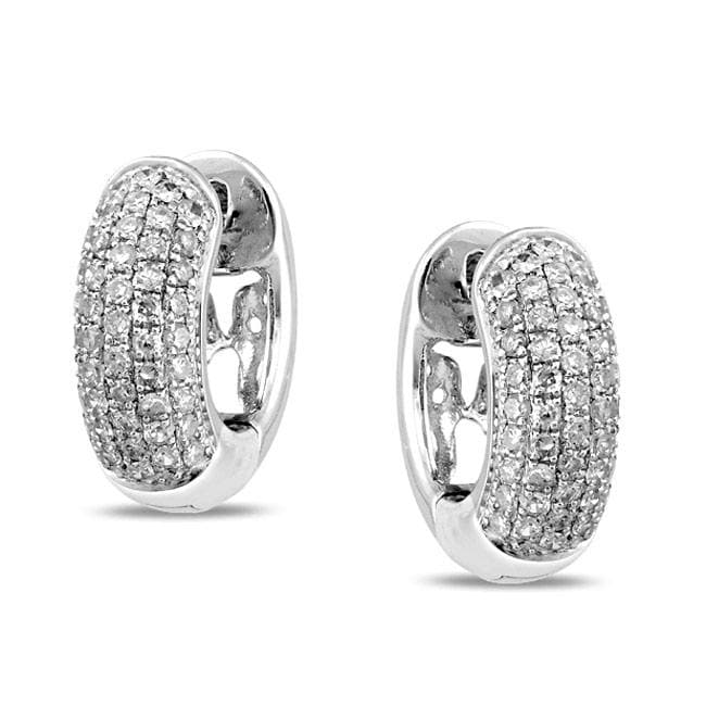 Miadora 10k White Gold 1/2ct TDW Diamond Cuff Earrings (G-H, I1-I2)